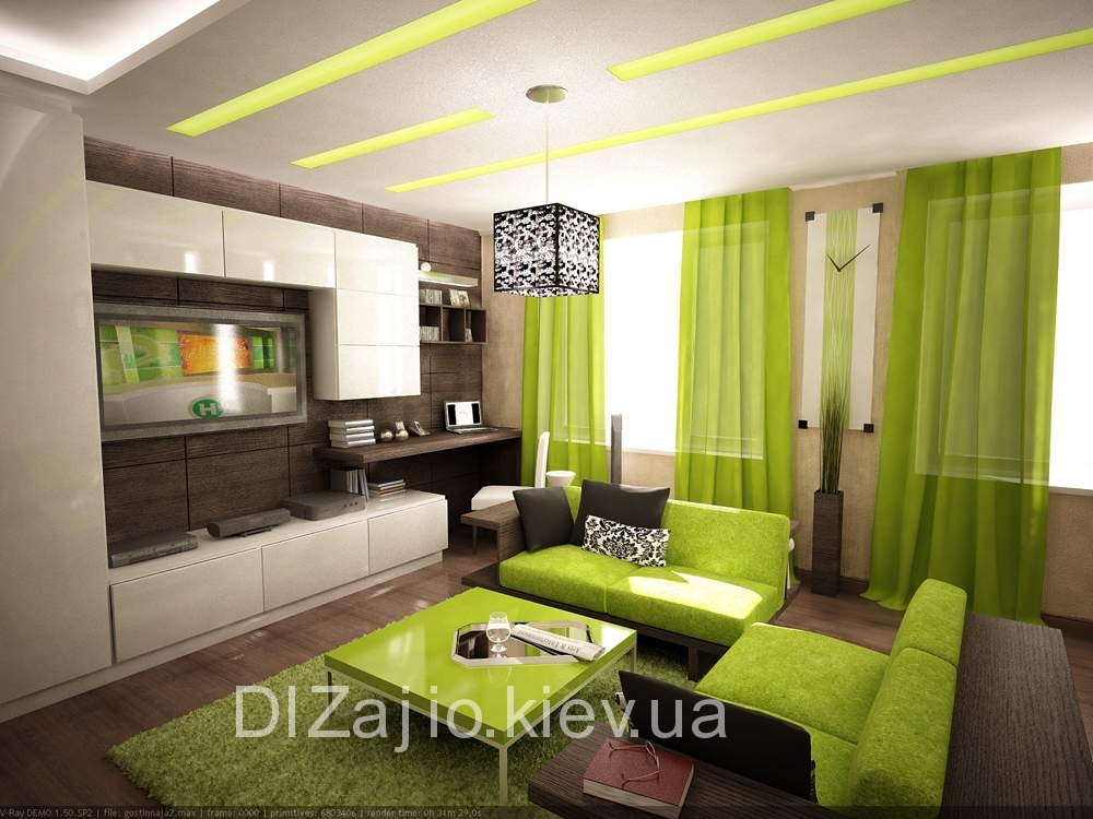 Дизайн интерьера большой комнаты